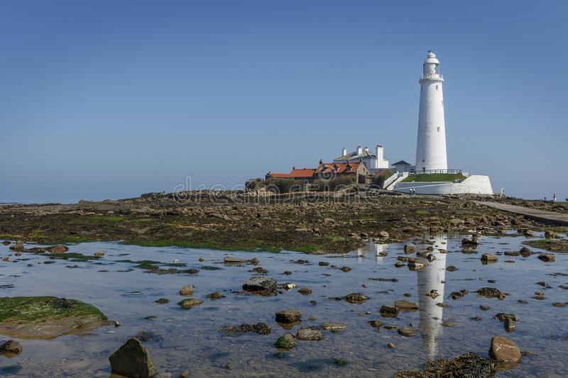 Landscape view of St. Marys Lighthouse on a summers day, and its stock image