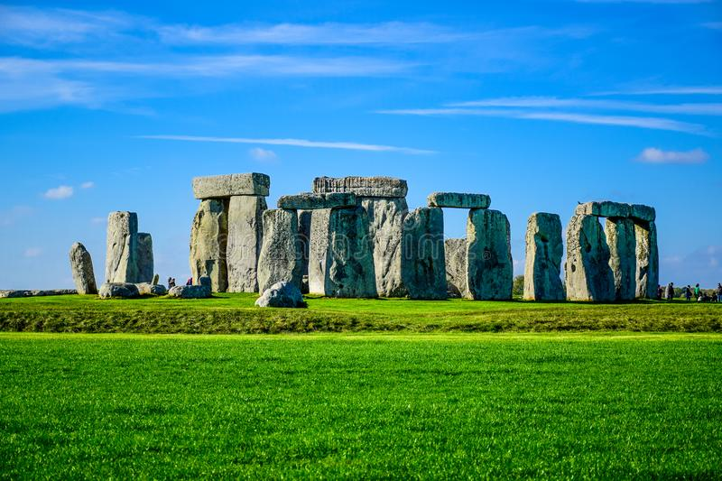 Landscape view of Stonehenge in Salisbury, Wiltshire, England, UK royalty free stock photo