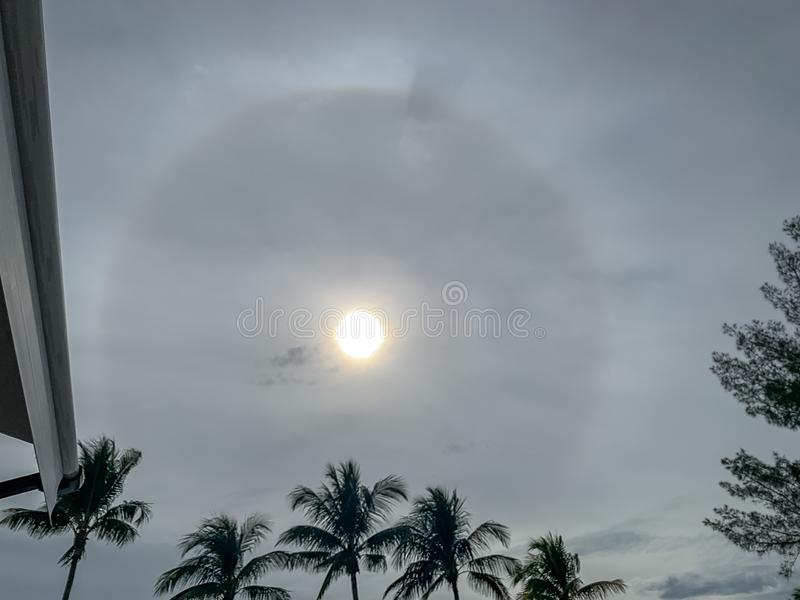 Landscape view of stunning sun halo over RV park in Florida stock image