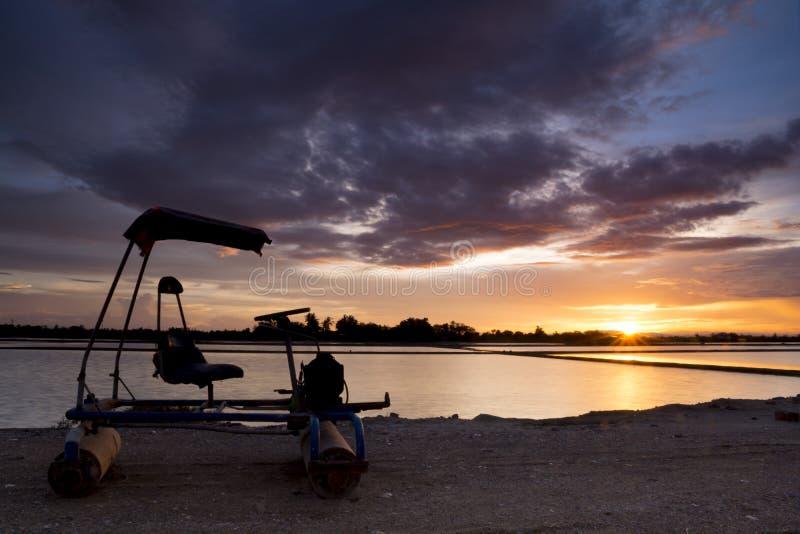 Landscape view. Sunset at Salt farm in Thailand. stock photos