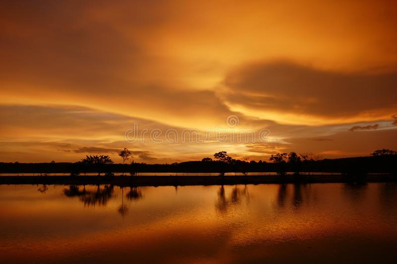 Landscape view of sunset stock image
