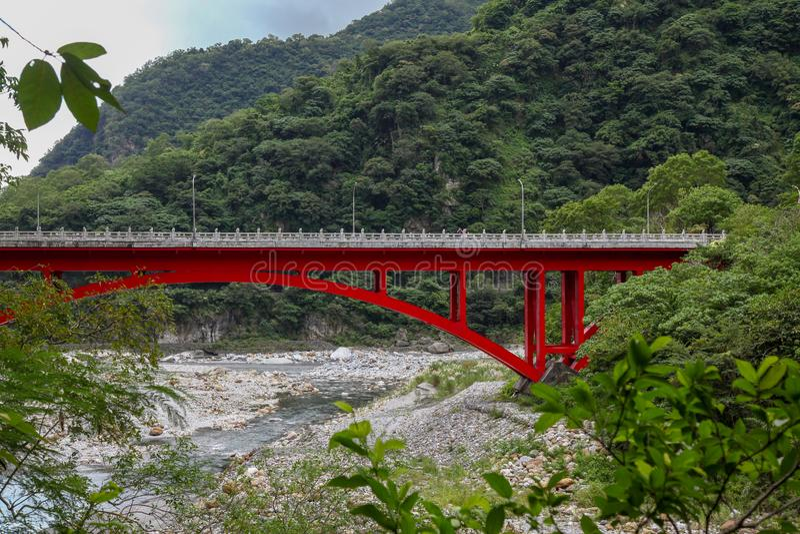 Landscape View in Taroko red bridge, Taroko national park, Hualien, Taiwan. Landscape View in Taroko red bridge, Taroko national park, Hualien, Taiwan royalty free stock photos