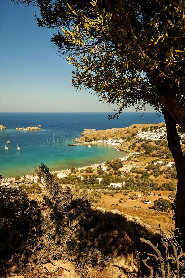 A landscape view to a little village Lindos in Rhodes, Greece. A landscape view to a little village Lindos in Rhodes Greece royalty free stock photos