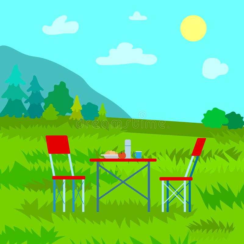 Landscape View on Top, Dinning on Mountains Vector. Picnic in mountains, table served by meal and thermos, couple chairs. Landscape view on top, clouds and sun stock illustration
