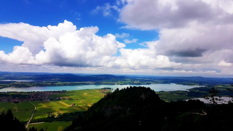 Landscape view from the top. Mountain, green, day, sky, shadow royalty free stock image