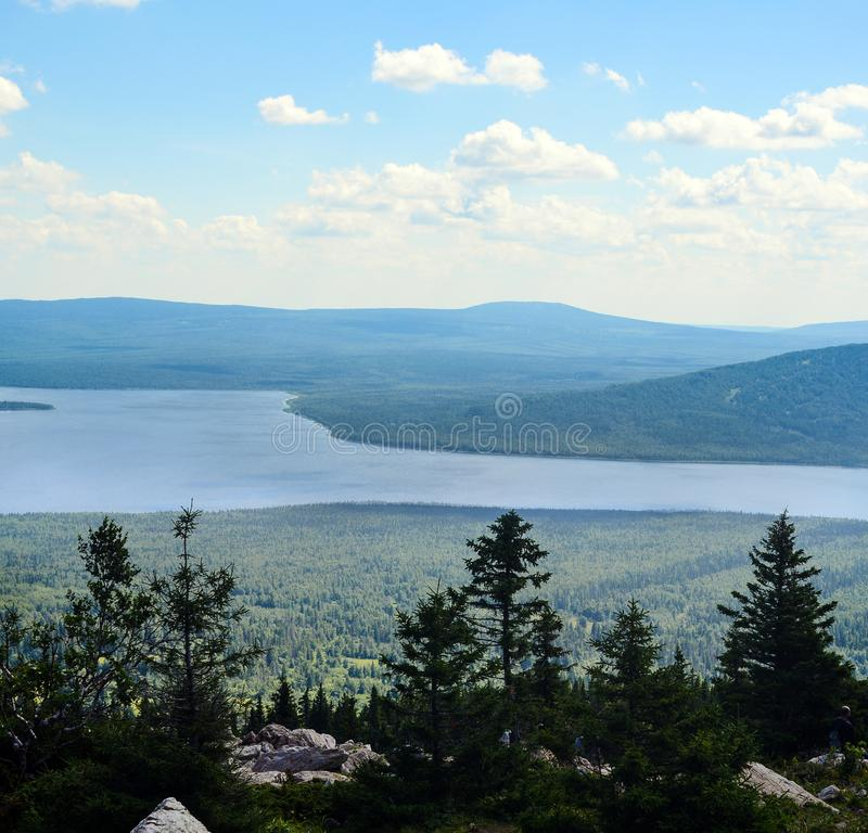 Landscape: The view from the top of the mountain stock photo