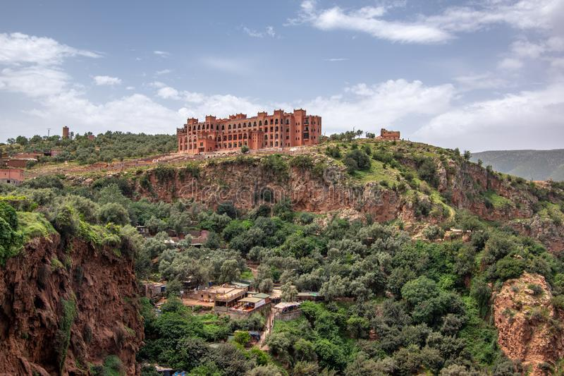 Landscape view of touristic area waterfall with hotel complex. On the top of the area, Ouzoud Falls. Moyen Atlas village of Tanaghmeilt, Atlas mountains stock images