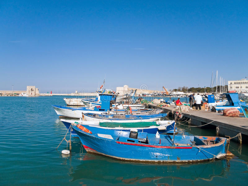 Landscape view of Trani seaport. Apulia. royalty free stock images