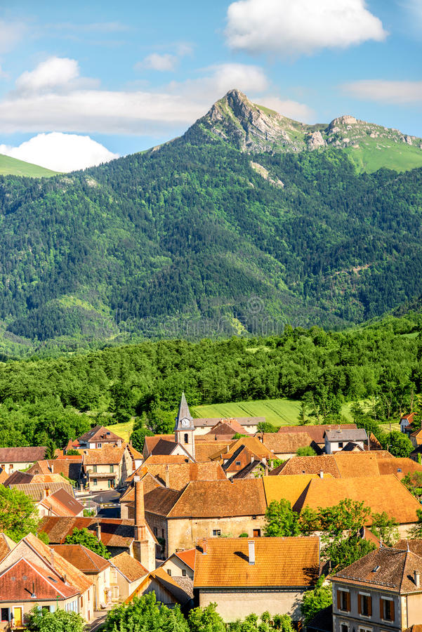 Landscape view on the village in France stock photography