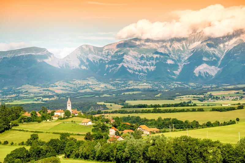 Landscape view on the village in France royalty free stock photography