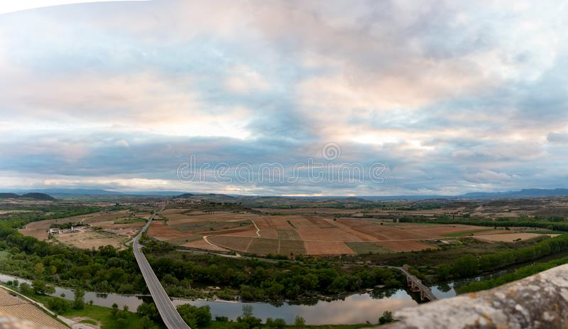Landscape view of vineyards from the Castle of San Vicente de la Sonsierra in La Rioja, Spain. stock image