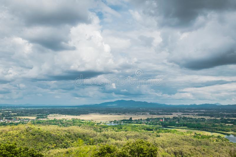 Landscape view of Lampang, Thailand. Landscape view at Wat Phra That Doi Phra Chan in Lampang Thailand royalty free stock photo