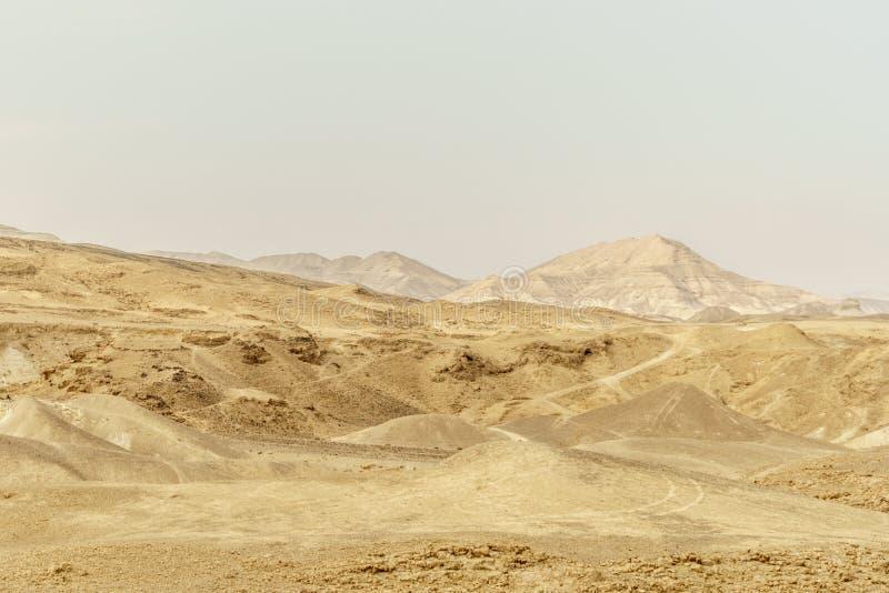 Landscape view of waterless desert near dead sea in Israel royalty free stock photos