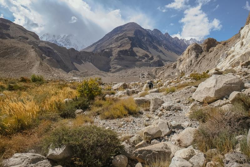 Landscape view of wilderness area in Passu trekking trail. Gilgit Baltistan, Pakistan. royalty free stock images