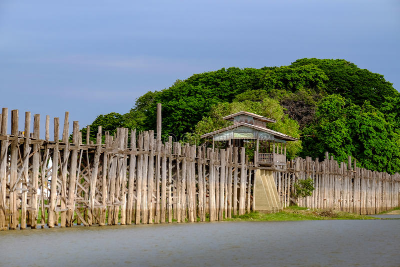 Landscape view of wooden Ubein bridge in Amarapura, Myanmar. Landscape view of wooden Ubein bridge in Amarapura, Mandalay, Myanmar stock photography