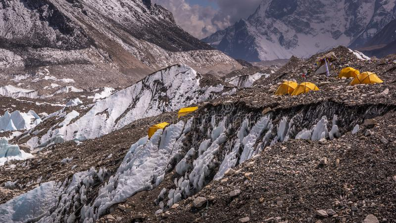 Landscape view of yellow tents in Everest Base Camp. royalty free stock images