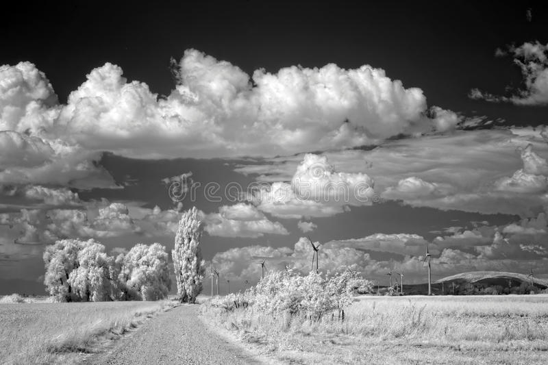 Landscape viewed in infrared light stock images