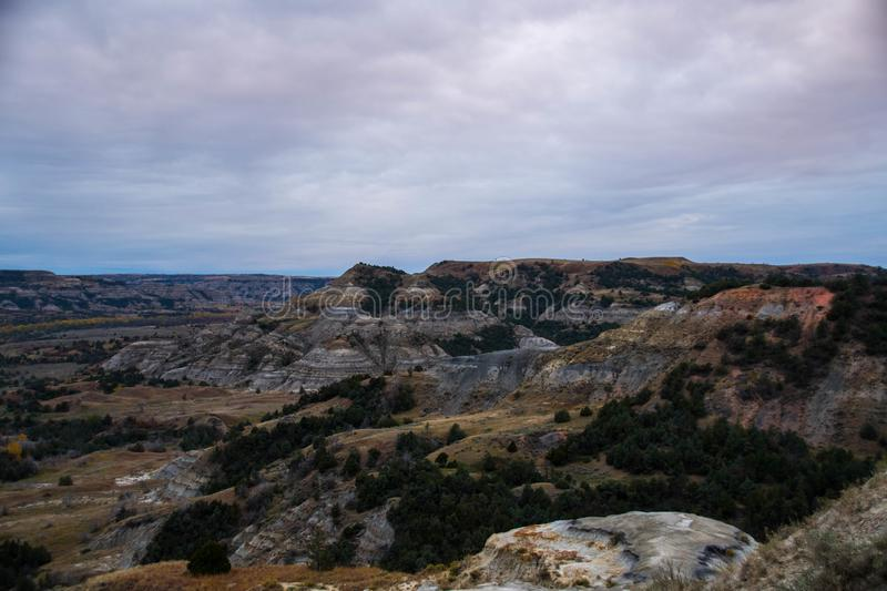 Landscape Views of Theodore Roosevelt National Park. Theodore Roosevelt National Park takes on a different look in the autumn as the fall colors come out in an stock photography