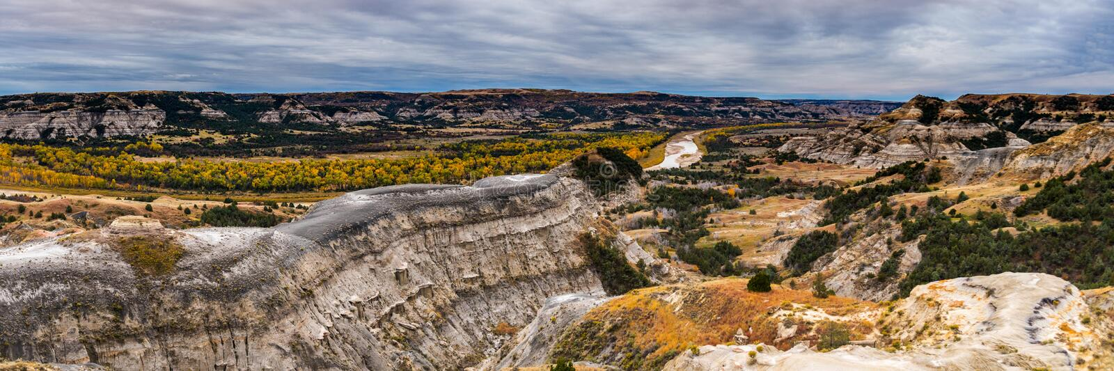 Landscape Views of Theodore Roosevelt National Park. Theodore Roosevelt National Park takes on a different look in the autumn as the fall colors come out in an royalty free stock photography