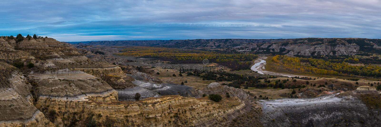 Landscape Views of Theodore Roosevelt National Park. Theodore Roosevelt National Park takes on a different look in the autumn as the fall colors come out in an stock images