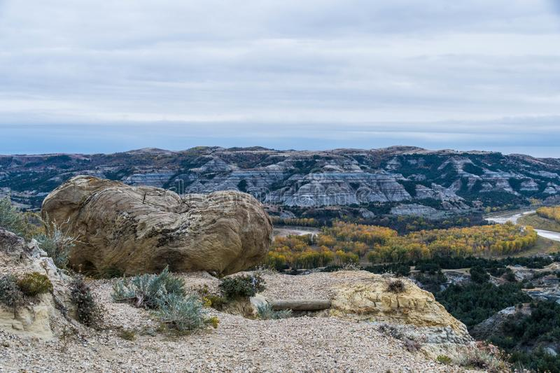 Landscape Views of Theodore Roosevelt National Park. Theodore Roosevelt National Park takes on a different look in the autumn as the fall colors come out in an royalty free stock images