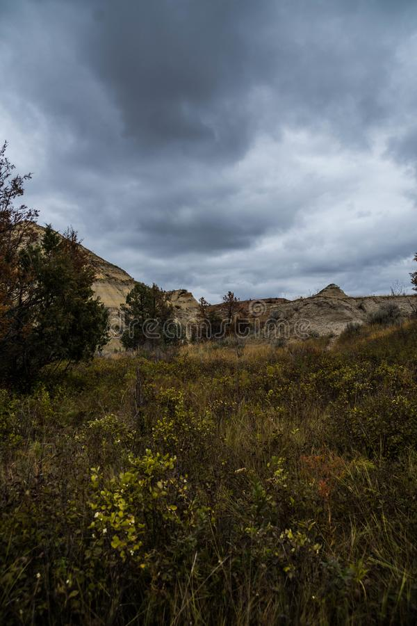 Landscape Views of Theodore Roosevelt National Park. Theodore Roosevelt National Park takes on a different look in the autumn as the fall colors come out in an stock photo