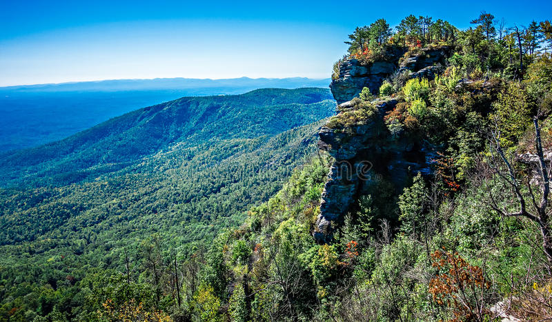 Landscape views on top of table rock mountain nc stock image