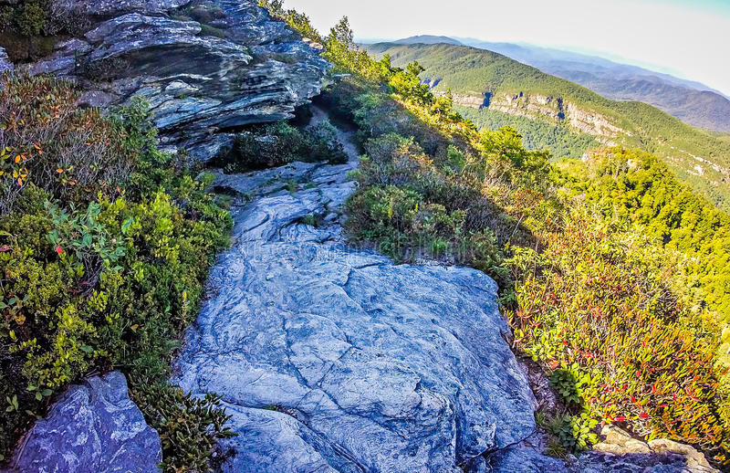 Landscape views on top of table rock mountain nc stock photos