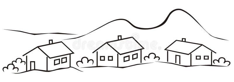 Town Landscape Vector Illustration: Landscape, Village Stock Vector. Illustration Of Community