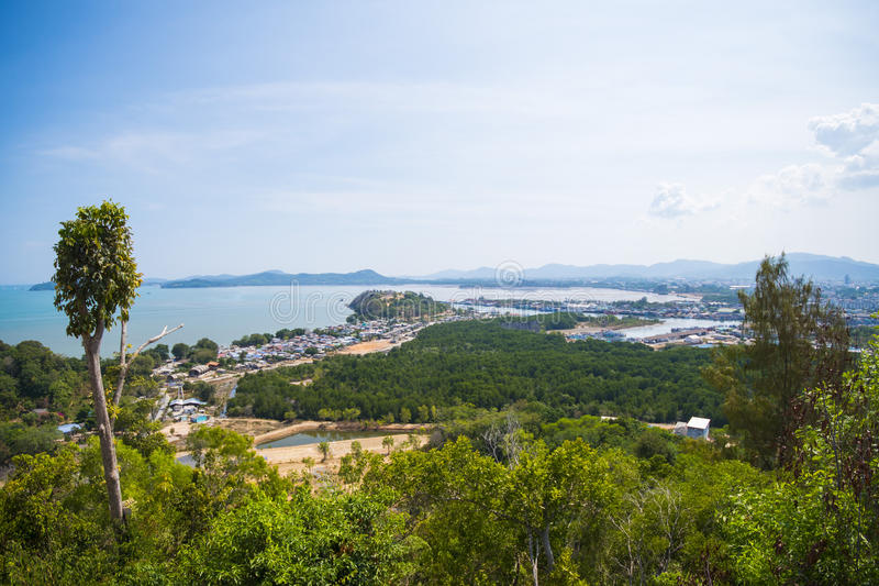 Landscape of village by the sea from viewpoint royalty free stock photos