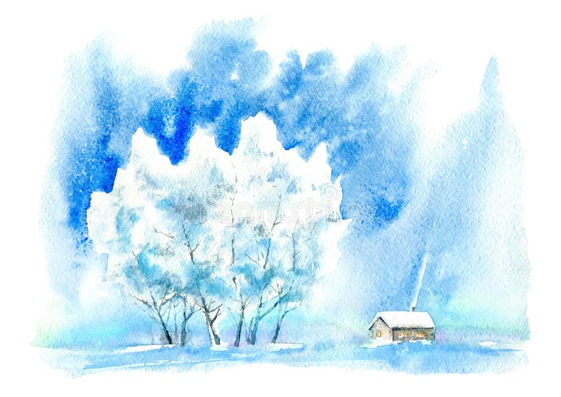 Landscape with village in winter.Snowy Birch tree with sun light. stock illustration