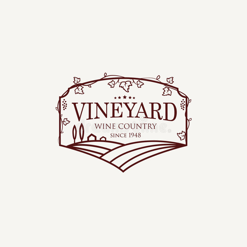 Landscape with vineyard fields, villa, trees. Outline vector illustration. stock photography