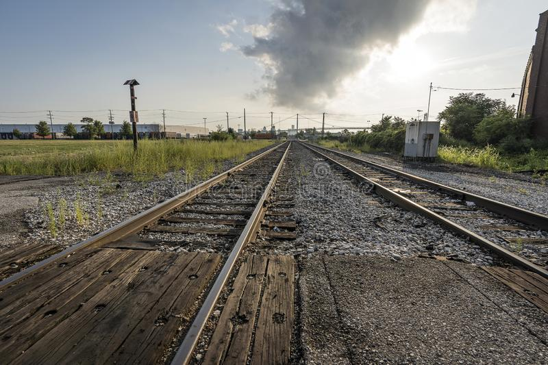 Landscape vintage of railroad tracks in Detroit downtown royalty free stock image