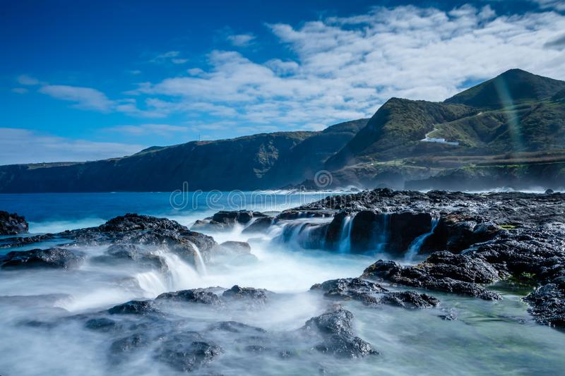 Landscape from the Volcanic Beach of Mosteiros in Sao Miguel, Az stock image