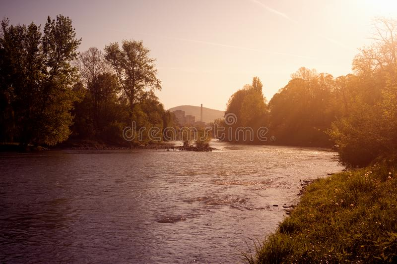 River landscape at sunrise royalty free stock image