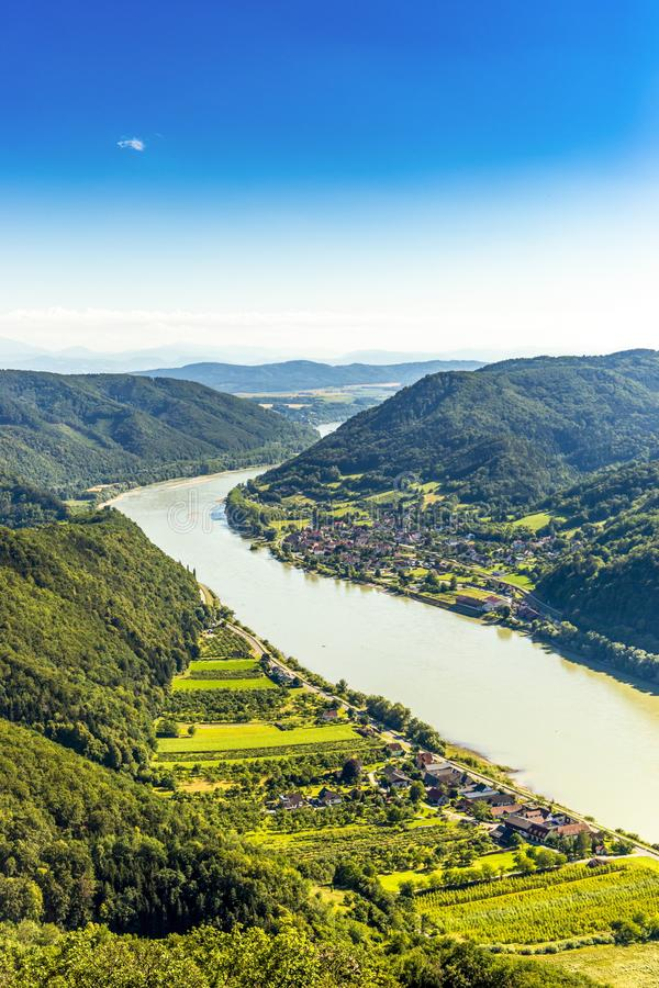 Landscape of Wachau valley, Danube river, Austria. stock images