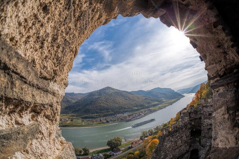 Landscape of Wachau valley, Spitz village with Danube river in Austria. royalty free stock images