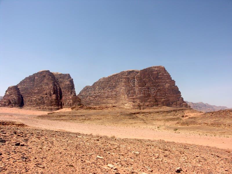 Landscape of Wadi Rum desert in Jordan stock photos