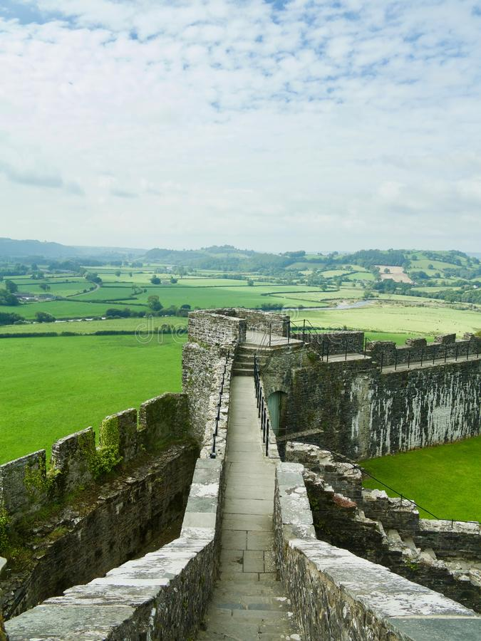 Landscape from the walls. Dinefwr Castle near Llandeilo Carmarthenshire Wales united Kingdom stock image