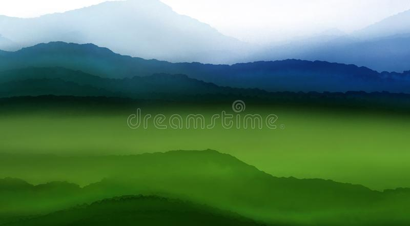 Landscape water color painting : forest and hill vector illustration
