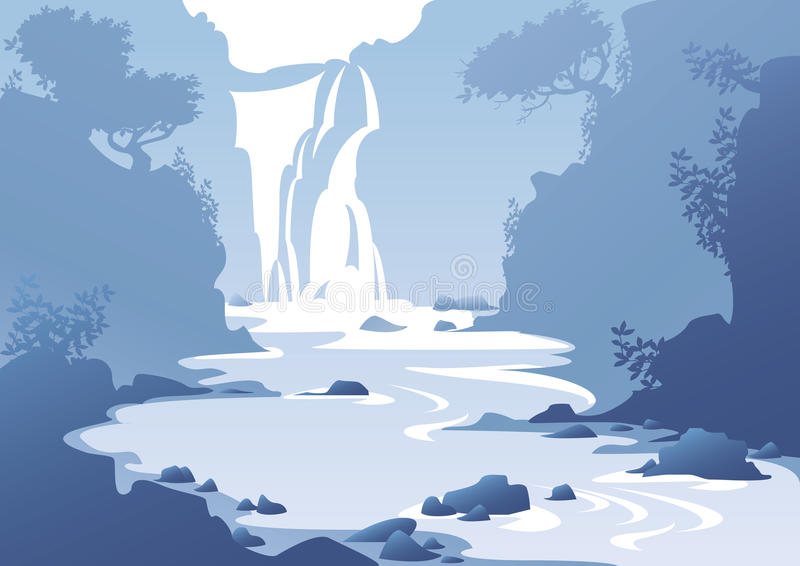 Landscape with a waterfall vector illustration