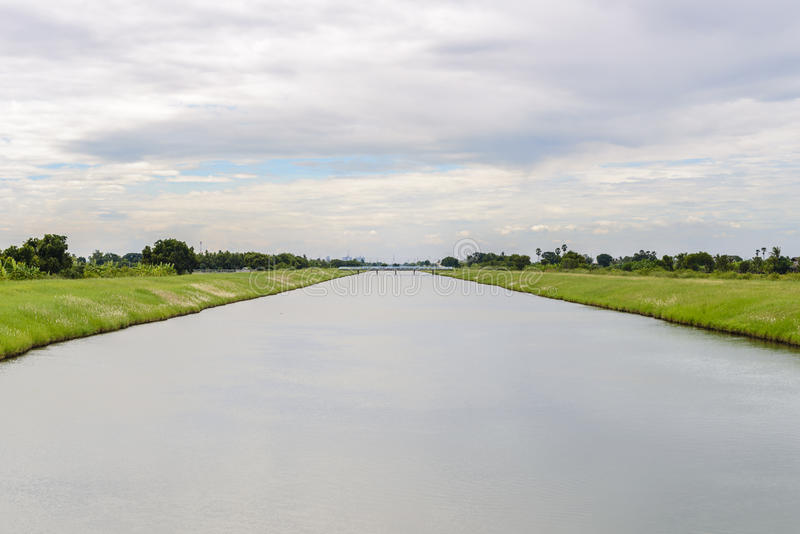 Landscape of waterway canal. In Thailand royalty free stock images