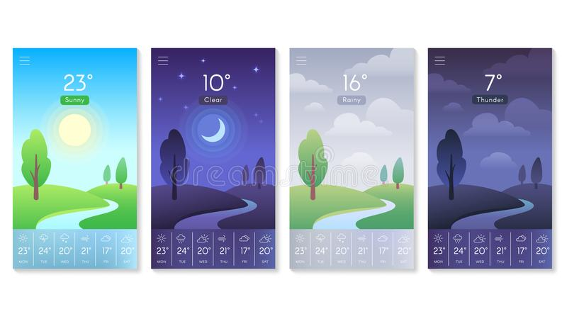 Landscape for weather app. Beautiful daytime sky with sun, moon and clouds. Morning and day background for mobile screen vector illustration