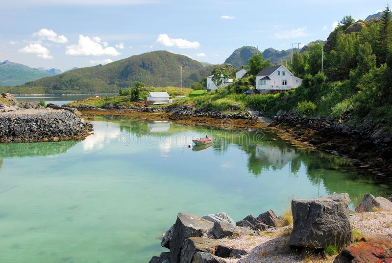 Spectacular landscape - West coast Norway- Island Senja. West coast of the island Senja by Hamn I Senja with Spectacular landscape of mountains, reflective water royalty free stock images