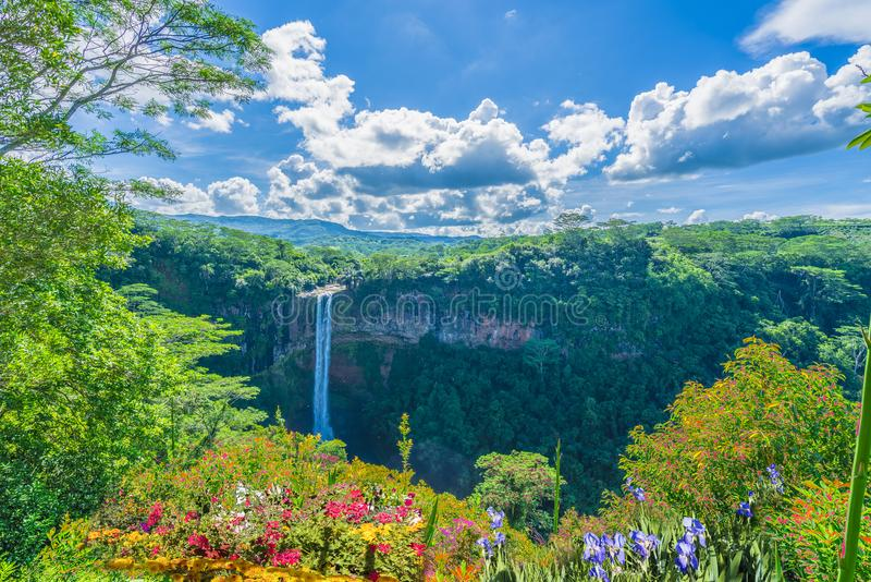 Chamarel waterfall in junle of Mauritius island, Africa royalty free stock image