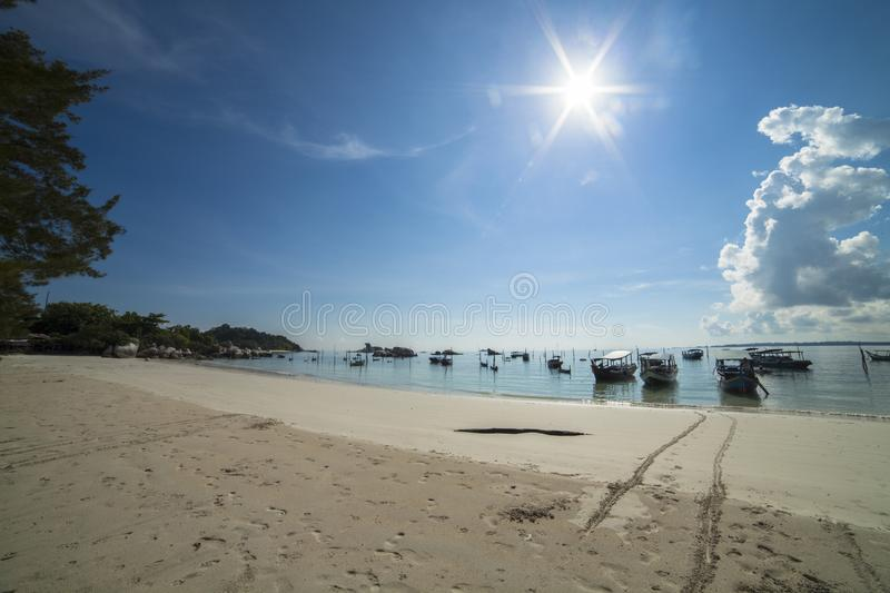 "Landscape of a white sand Tanjung Tinggi Beach, Belitung Island. Belitung island is ""Caribbean from the East"", as expressed by the Dutchmen in the stock photo"