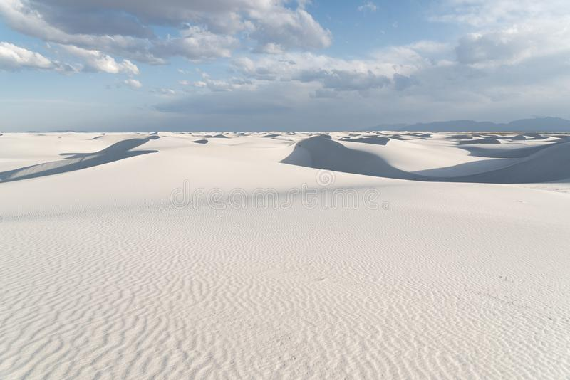 Landscape at White Sands National Monument in Alamogordo, New Mexico. A landscape of the white gypsum sand at White Sands National Monument in Alamogordo, New royalty free stock photos