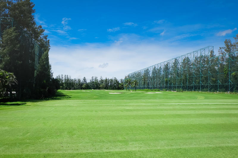Landscape Wide green lawns of golf courses royalty free stock photography