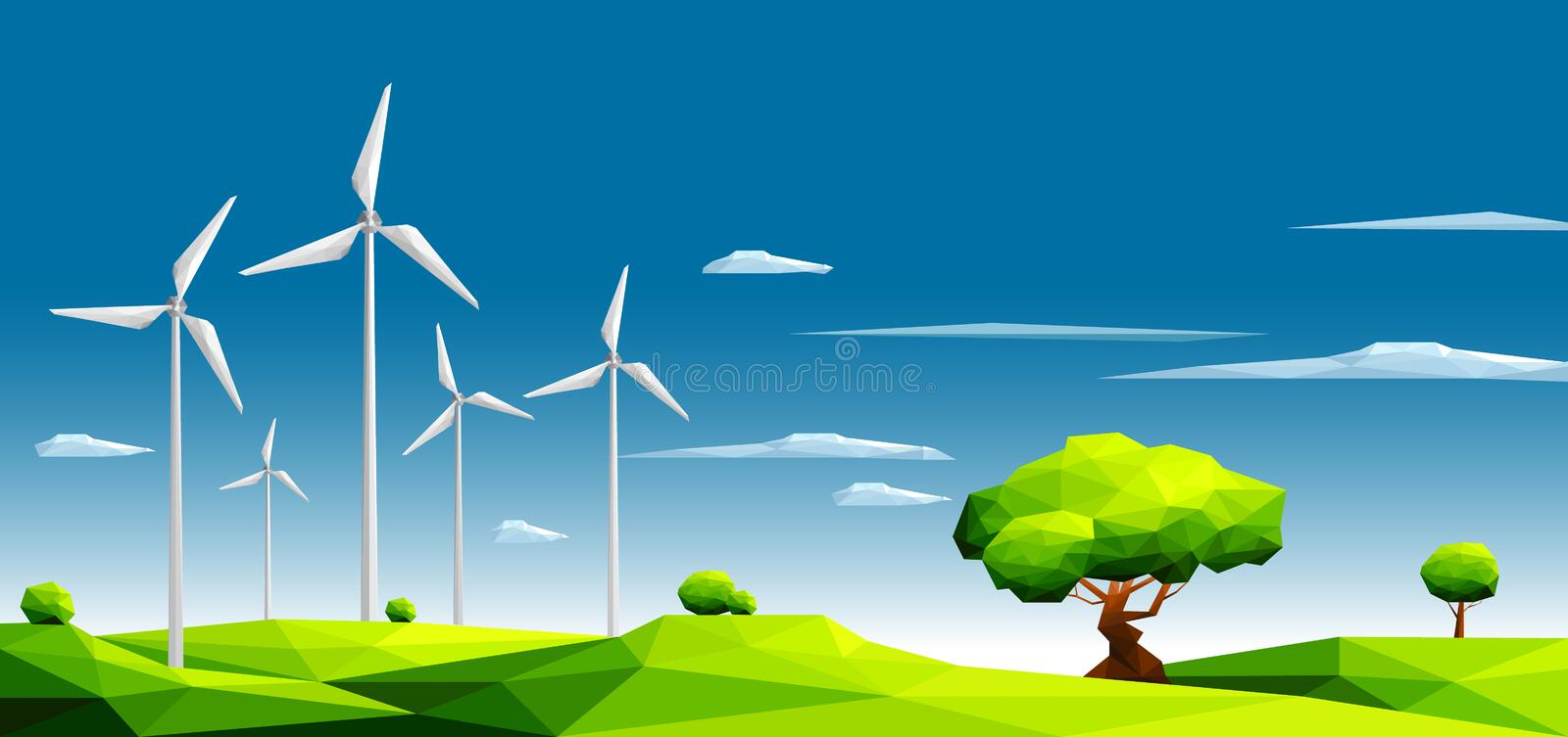 Landscape with wind farm in green fields among trees.Ecology Concept.Polygonal style. Eps10 Vector Illustration royalty free illustration