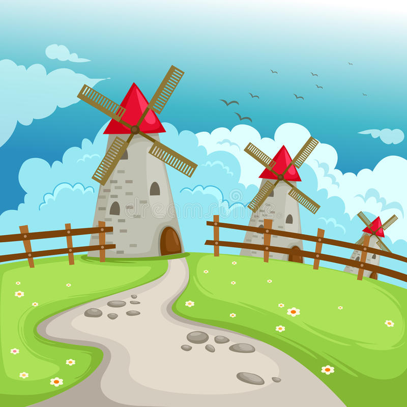 Landscape windmill building royalty free illustration